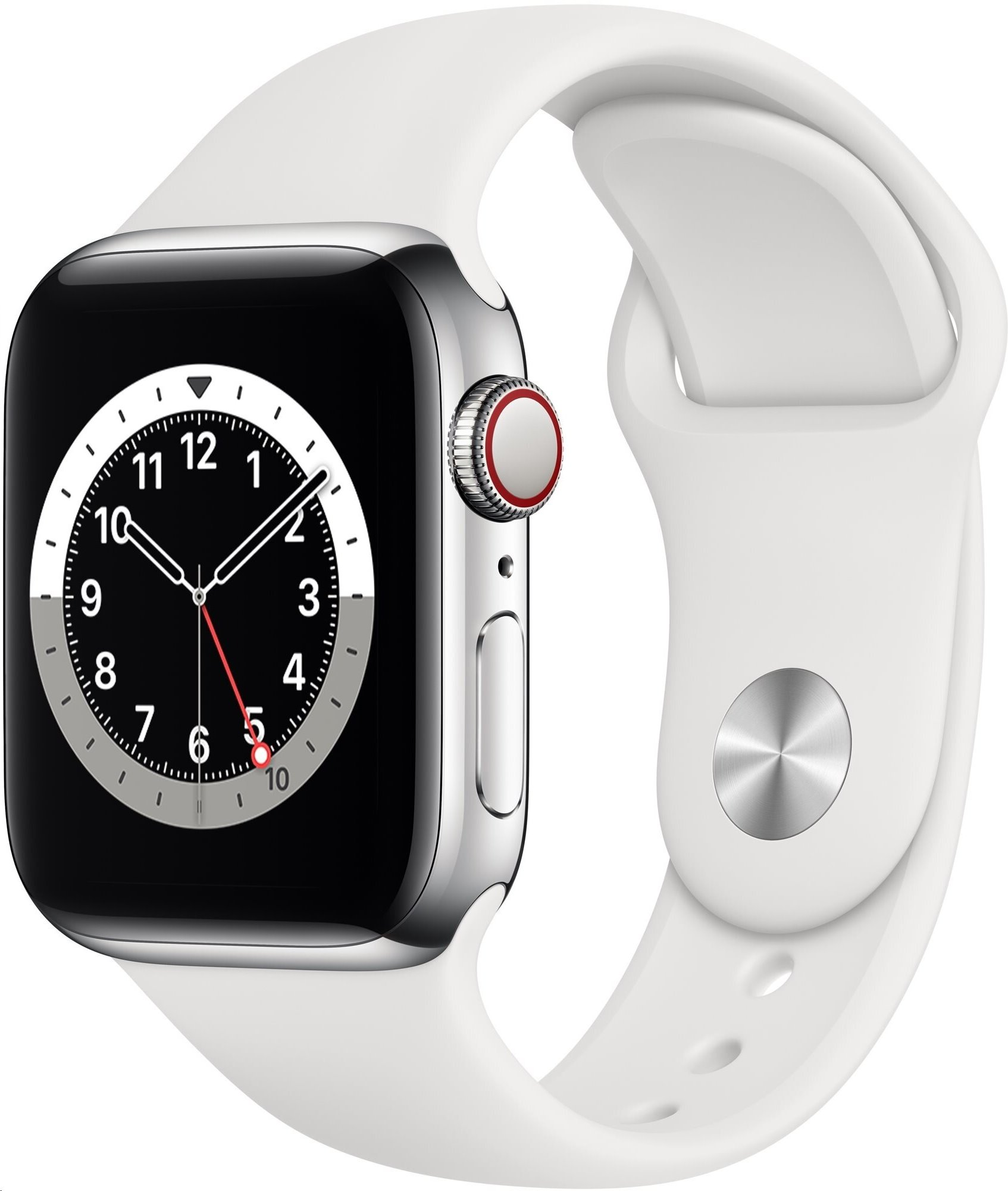 APPLE Watch Series 6 GPS+Cellular,40mm Silver Stainless Steel Case with White Sport Band