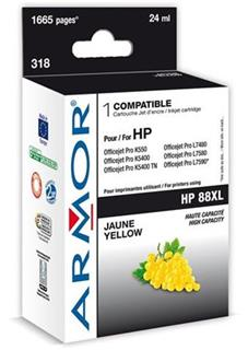 ARMOR cartridge pro HP 88XL Officejet K550 yellow HC, 20 ml, (C9393A) - alternativní
