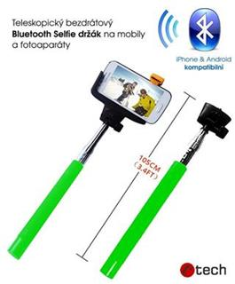 C-TECH MP107 zelený, Bluetooth selfie držák