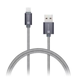 Connect IT Wirez Premium Metallic Lightning, datový kabel, šedý, 1 m