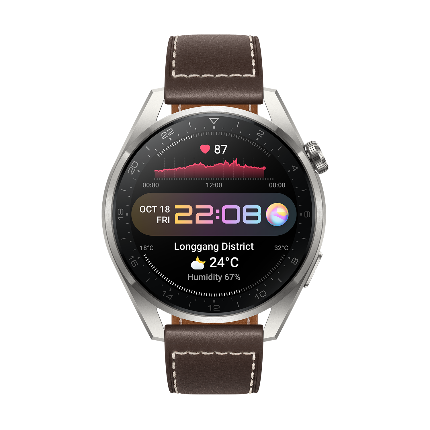 Huawei Watch 3 Pro, Brown Leather Strap