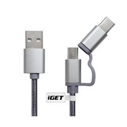 iGET MicroUSB + USB-C prodloužený 2v1 kabel (G2V1)