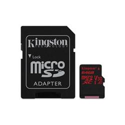 KINGSTON micro SDXC 64GB Canvas React micro SDXC UHS-I V30 (čtení/zápis: 100/80MB/s) + SD adaptér