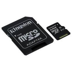 KINGSTON micro SDXC 64GB Canvas Select UHS-I CL1 (U1) (čtení/zápis: 80/10MB/s) + SD adaptér + SD adaptér