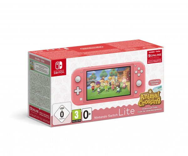 Nintendo Switch Lite Coral + Animal Crossing New Horizons + NSO 3M